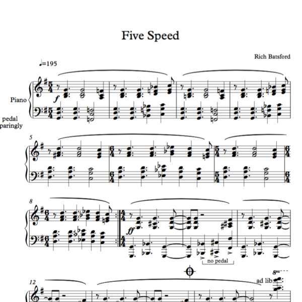 Five Speed Sheet Image
